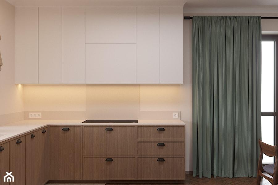 Miączyńska, 150m - Mała otwarta biała kuchnia w kształcie litery l z oknem, styl vintage - zdjęcie od DZIURDZIAprojekt