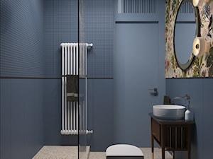 114, wilcza - Średnia niebieska łazienka bez okna, styl nowoczesny - zdjęcie od DZIURDZIAprojekt
