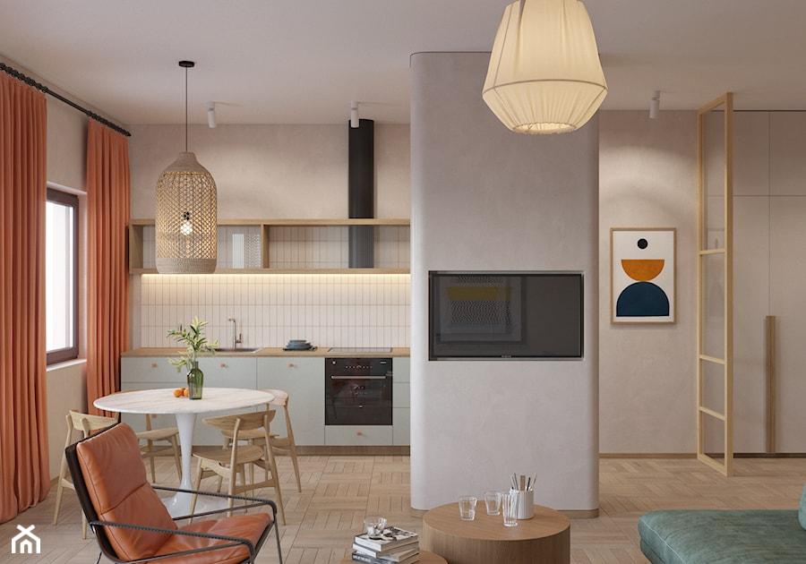 72, GIEŁDOWA - Mała otwarta szara kuchnia jednorzędowa w aneksie z oknem, styl vintage - zdjęcie od DZIURDZIAprojekt