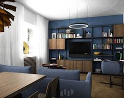 78, Wola - Średni biały niebieski salon z bibiloteczką z jadalnią, styl vintage - zdjęcie od DZIURDZIAprojekt