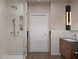 Miączyńska, 150m - Średnia beżowa różowa łazienka bez okna, styl vintage - zdjęcie od DZIURDZIAprojekt