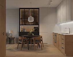 Wólczyńska 72 m, - Mała otwarta biała kuchnia w kształcie litery l w aneksie, styl skandynawski - zdjęcie od DZIURDZIAprojekt - Homebook