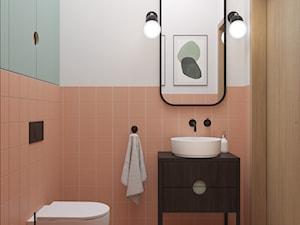 72, GIEŁDOWA - Mała biała różowa łazienka bez okna, styl vintage - zdjęcie od DZIURDZIAprojekt