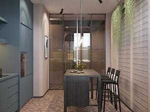 114, wilcza - Średnia zamknięta szara kuchnia jednorzędowa, styl industrialny - zdjęcie od DZIURDZIAprojekt