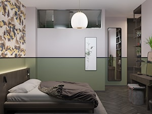 114, wilcza - Średnia biała zielona sypialnia małżeńska, styl eklektyczny - zdjęcie od DZIURDZIAprojekt