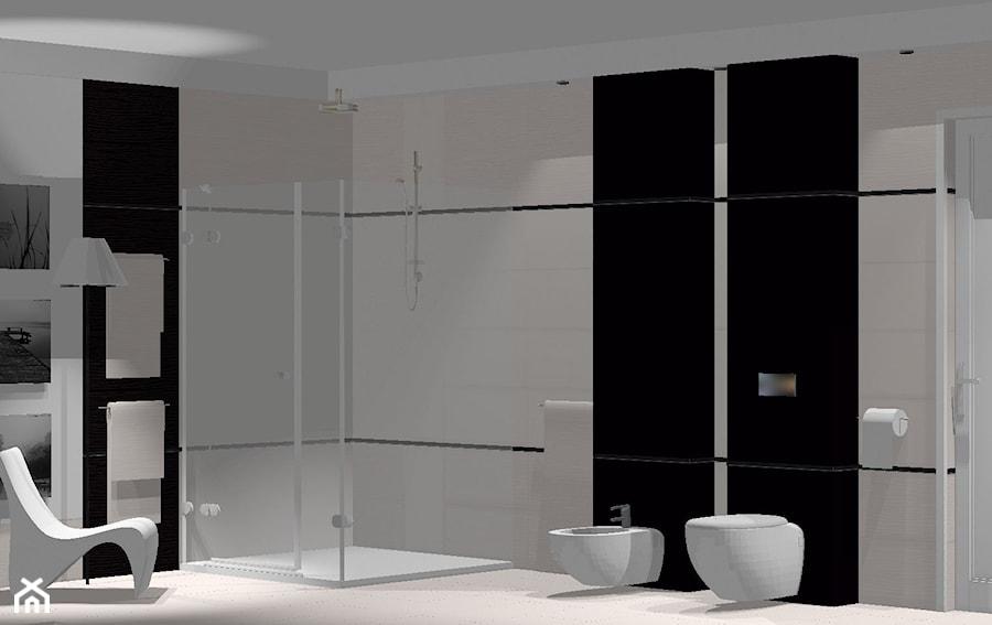 Przestrzenna nowoczesna łazienka: prysznic, bidet, wc - zdjęcie od domolka.pl