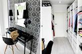 czarna toaletka z połyskiem, wąska garderoba, biała szafa, białe drzwi