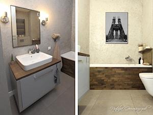 Kawalerka Nyska - Mała szara łazienka w bloku bez okna, styl nowoczesny - zdjęcie od NATALIA GIERASIMCZUK - ARCHITEKT WNĘTRZ