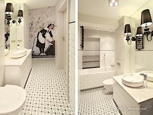 Apartament Wagnera - Średnia beżowa łazienka w bloku bez okna, styl nowoczesny - zdjęcie od NATALIA GIERASIMCZUK - ARCHITEKT WNĘTRZ