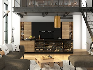 Loftowa czarno-drewniana kuchnia, kolekcja Italia