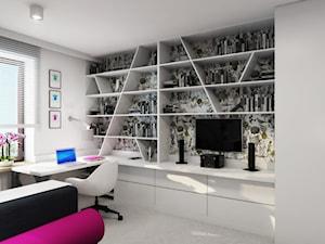 PINK & REBEL - Średni biały kolorowy pokój dziecka dla dziewczynki dla nastolatka, styl nowoczesny - zdjęcie od m o d e s i magdalena wasiak