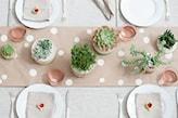 beżowy bieżnik w białe kropki, białe talerze, białe donice z zielonymi roślinami