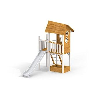 Drewniany domek Lisy ze zjeżdżalnią