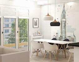 Apartament w Lublinie - Mała otwarta biała jadalnia w salonie, styl eklektyczny - zdjęcie od Artenova Design - pracownia projektowania wnętrz
