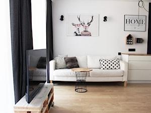 Kawalerka w stylu skandynawskim - Kraków - Mały średni biały salon, styl skandynawski - zdjęcie od STABRAWA.PL - pozytywny design