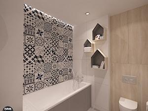 Mieszkanie z patchworkiem w Krakowie - Mała biała beżowa czarna łazienka w bloku bez okna, styl nowoczesny - zdjęcie od STABRAWA.PL - pozytywny design
