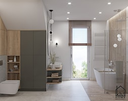 projekt łazienki z prysznicem, wanną, umywalką dwustanowiskową oraz miską wc - zdjęcie od Kivi Home - projektowanie wnętrz - Homebook
