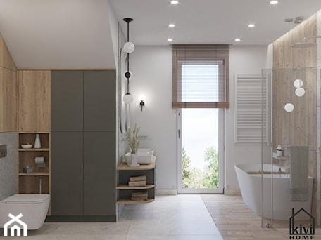 Aranżacje wnętrz - Łazienka: projekt łazienki z prysznicem, wanną, umywalką dwustanowiskową oraz miską wc - Kivi Home - projektowanie wnętrz. Przeglądaj, dodawaj i zapisuj najlepsze zdjęcia, pomysły i inspiracje designerskie. W bazie mamy już prawie milion fotografii!