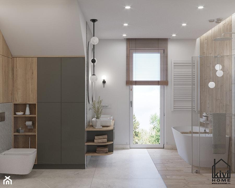 projekt łazienki z prysznicem, wanną, umywalką dwustanowiskową oraz miską wc - zdjęcie od Kivi Home - projektowanie wnętrz