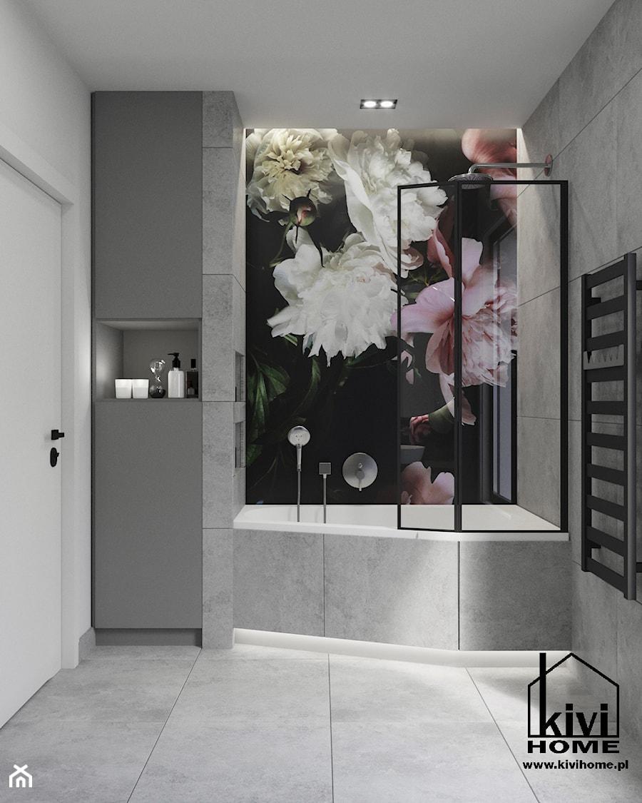 projekt łazienki z wanną oraz oryginalną ścianką za umywalką - zdjęcie od Kivi Home - projektowanie wnętrz