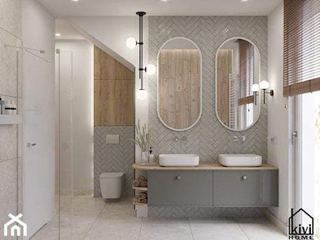 Aranżacje wnętrz - Łazienka: łazienka z dwustanowiskową umywalką, szafką wiszącą, baterią podtynkową, prysznicem, wanną - Kivi Home - projektowanie wnętrz. Przeglądaj, dodawaj i zapisuj najlepsze zdjęcia, pomysły i inspiracje designerskie. W bazie mamy już prawie milion fotografii!