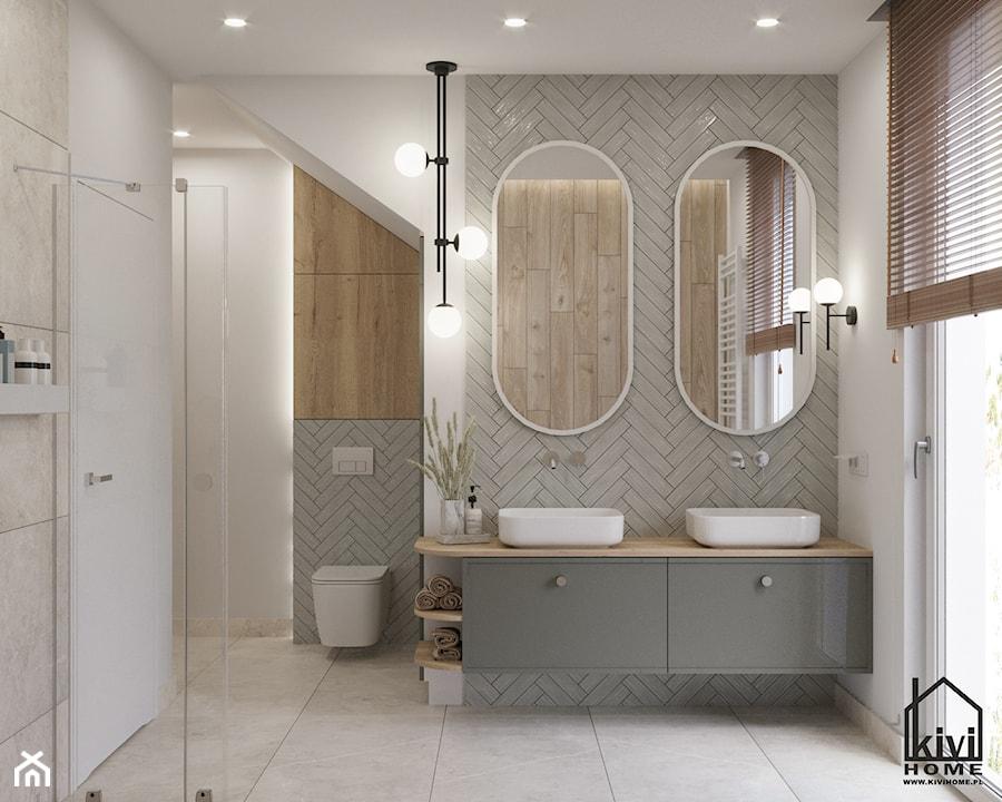 łazienka z dwustanowiskową umywalką, szafką wiszącą, baterią podtynkową, prysznicem, wanną - zdjęcie od Kivi Home - projektowanie wnętrz