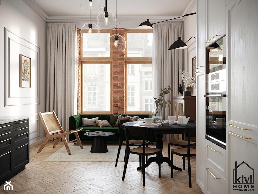 Salon w mieszkaniu w kamienicy - zdjęcie od Kivi Home - projektowanie wnętrz