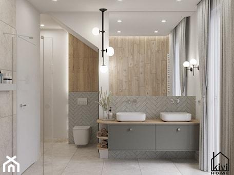 Aranżacje wnętrz - Łazienka: projekt średnej łazienki z oknem, na poddaszu, umywalka dwustanowiskowa, miska wc, prysznic, wanna - Kivi Home - projektowanie wnętrz. Przeglądaj, dodawaj i zapisuj najlepsze zdjęcia, pomysły i inspiracje designerskie. W bazie mamy już prawie milion fotografii!