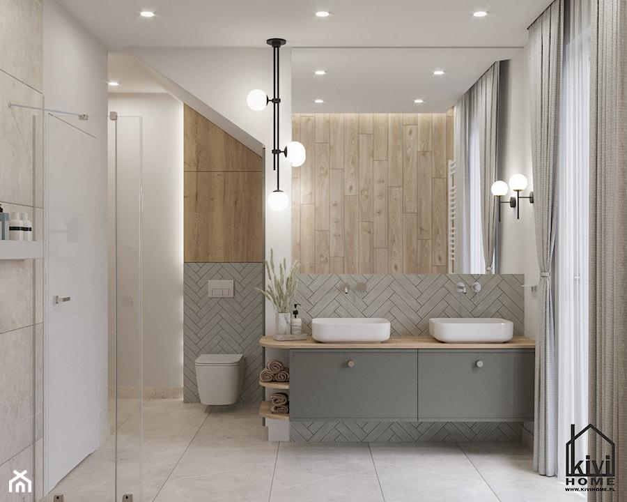 projekt średnej łazienki z oknem, na poddaszu, umywalka dwustanowiskowa, miska wc, prysznic, wanna - zdjęcie od Kivi Home - projektowanie wnętrz