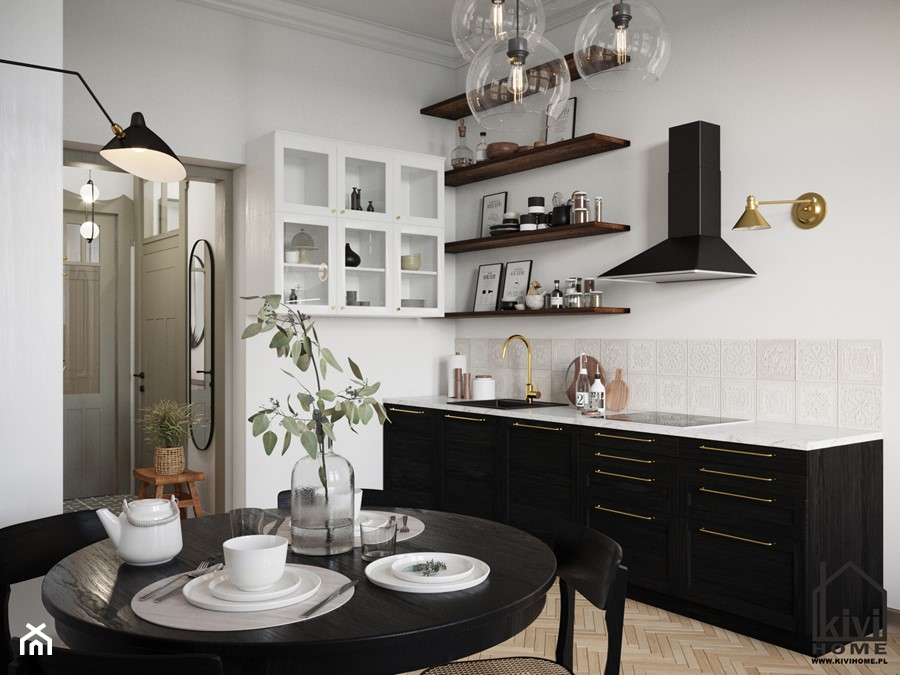 Kuchnia w mieszkaniu w kamienicy - Ikea - zdjęcie od Kivi Home - projektowanie wnętrz
