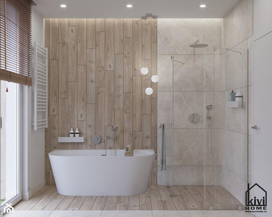 łazienka z wanną i prysznicem - zdjęcie od Kivi Home - projektowanie wnętrz