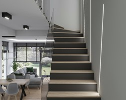 klatka schodowa z oświetleniem led - zdjęcie od Kivi Home - projektowanie wnętrz - Homebook