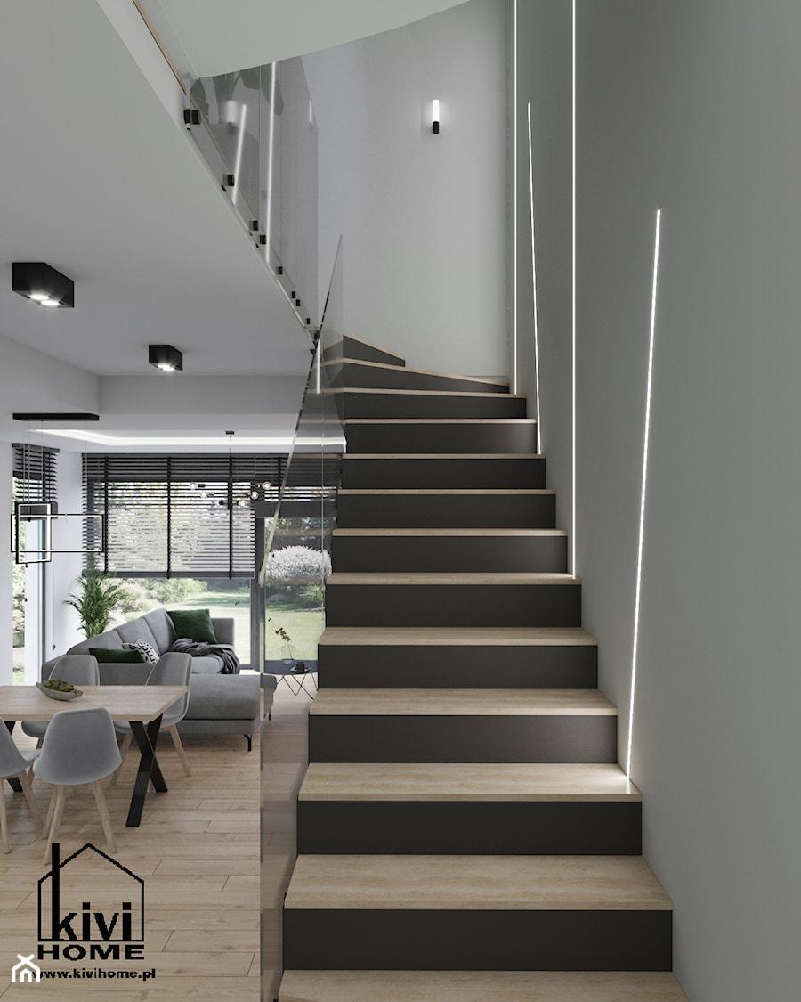 klatka schodowa z oświetleniem led - zdjęcie od Kivi Home - projektowanie wnętrz