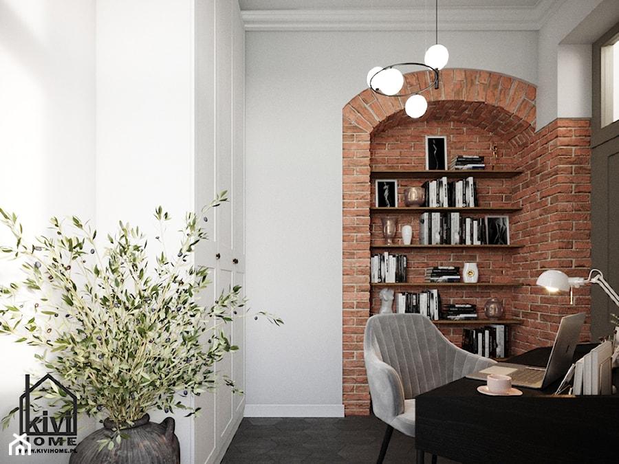 Gabinet z motywem cegły - zdjęcie od Kivi Home - projektowanie wnętrz