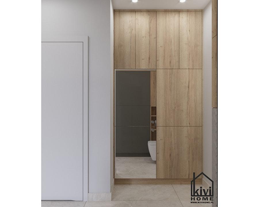 projekt pralki w zabudowie w łazience - zdjęcie od Kivi Home - projektowanie wnętrz