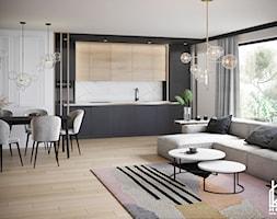 projekt salonu z aneksem kuchennym - zdjęcie od Kivi Home - projektowanie wnętrz - Homebook