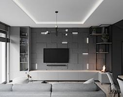 ściana tv w salonie - zdjęcie od Kivi Home - projektowanie wnętrz - Homebook