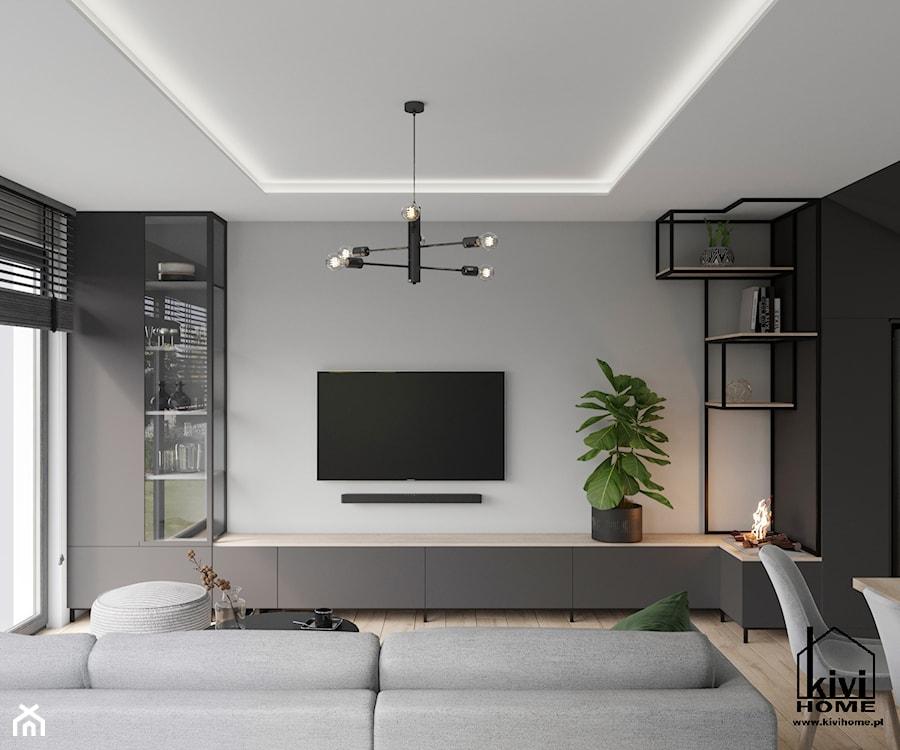 ściana tv w salonie - zdjęcie od Kivi Home - projektowanie wnętrz
