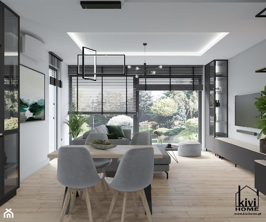 Projekt jadalni w otwartej strefie dziennej - zdjęcie od Kivi Home - projektowanie wnętrz