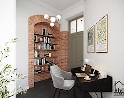 Gabinet z motywem cegły - zdjęcie od Kivi Home - projektowanie wnętrz - Homebook