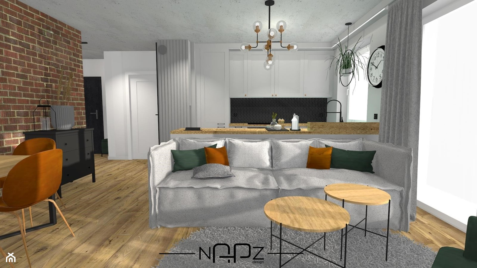 Kuchnia z salonem w klimacie industrialnym - Kuchnia, styl industrialny - zdjęcie od Niebanalne Aranżacje Przestrzeni Zamkniętych - Homebook