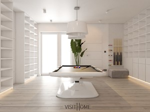 Dom z antresolą - nowoczesny korytarz w kolorze czarno białym