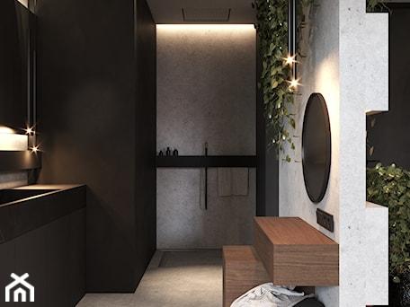 Aranżacje wnętrz - Łazienka: Łazienka w ciemnych kolorach - VISIT HOME. Przeglądaj, dodawaj i zapisuj najlepsze zdjęcia, pomysły i inspiracje designerskie. W bazie mamy już prawie milion fotografii!