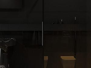 Minimalistyczna ciemna łazienka z umywalkami wolnostojącymi