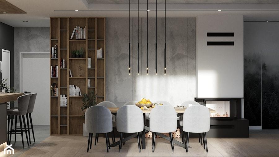 Nowoczesny, jasny salon z aneksem kuchennym, beton architektoniczny na suficie, lamele i oryginalna ... - zdjęcie od VISIT HOME