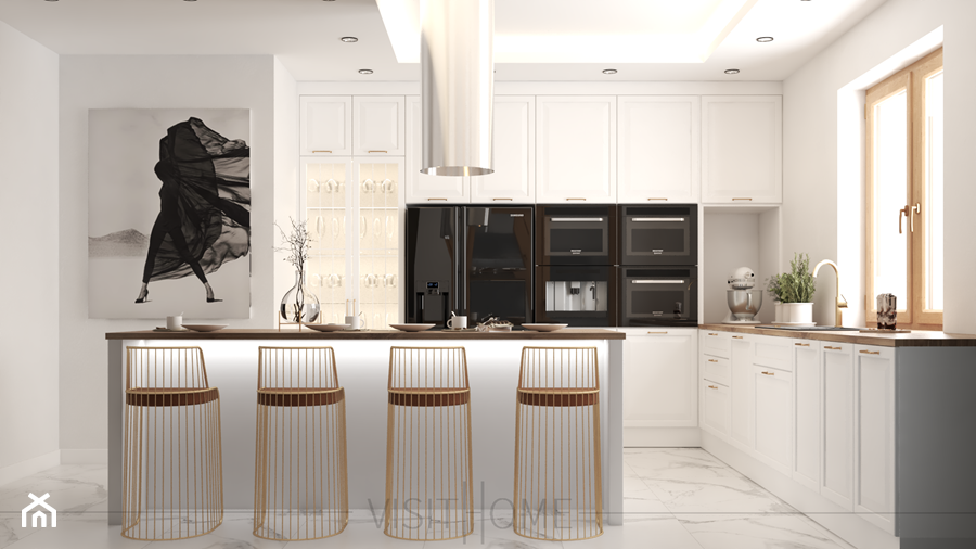 Kuchnia dwie wersje - wyspa czy półwysep? Czarna czy biała? - zdjęcie od VISIT HOME