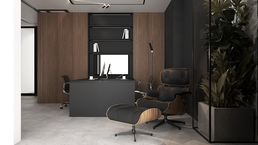 Klimatyczne męskie domowe biuro z akcentem roślinnym - dark home office - zdjęcie od VISIT HOME