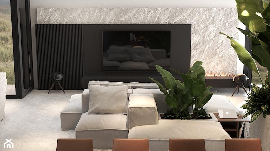 Pomysł na ściankę telewizyjną w domu typu stodoła - zdjęcie od VISIT HOME