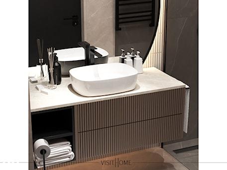 Aranżacje wnętrz - Łazienka: Jasna nowoczesna łazienka w kawowych odcieniach - VISIT HOME. Przeglądaj, dodawaj i zapisuj najlepsze zdjęcia, pomysły i inspiracje designerskie. W bazie mamy już prawie milion fotografii!