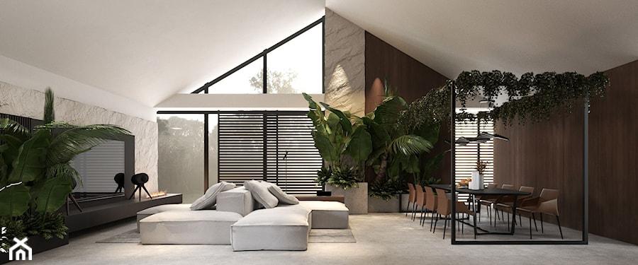 Salon w domu typu nowoczesna stodoła - zdjęcie od VISIT HOME